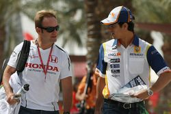 Rubens Barrichello, Honda Racing F1 Team and Lucas Di Grassi Test Driver, Renault F1 Team