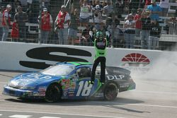 Kyle Busch celebrates his win