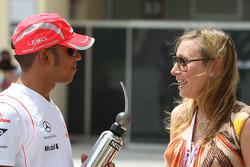Lewis Hamilton, McLaren Mercedes with girls in the paddock