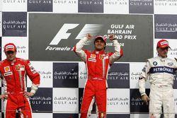 Podium : le vainqueur Felipe Massa, le deuxième, Kimi Raikkonen, le troisième, Robert Kubica