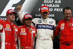 Podium: race winner Felipe Massa, second place Kimi Raikkonen, third place Robert Kubica, and Stefano Domenicali
