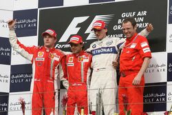 Podium: race winner Felipe Massa, second place Kimi Raikkonen, third place Robert Kubica, and Stefan