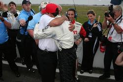 Graham Rahal gets a hug from his father, Bobby Rahal