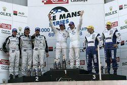 LMP2 podium: klassewinnaars Jos Verstappen en Peter Van Merksteijn, tweede plaats Xavier Pompidou, S