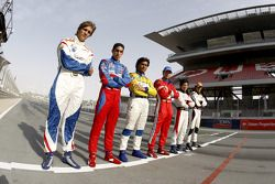 Vitaly Petrov, Sebastien Buemi, Fairuz Fauzy, Bruno Senna, Kamui Kobayashi, Adrian Valles line up on