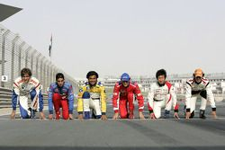 Vitaly Petrov, Sebastien Buemi, Fairuz Fauzy, Bruno Senna, Kamui Kobayashi and Adrian Valles