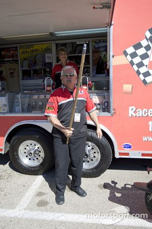 Racing Electronics' Bud Wimpee guards his trailer from unwelcomed photographers