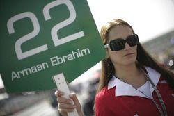 Grid girl for Armaan Ebrahim