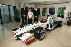 Nicky Fry, Ross Brawn and 16 year old British karting star Will Stevens, Honda Racing F1 Team driver support programme, Brackley HQ
