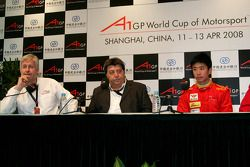 David Claire, Tony Teixeira, A1GP Chairman and Congfu Cheng, driver of A1 Team China