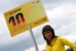 Grid girl of pole sitter Timo Scheider, Audi Sport Team Abt