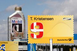 Location sign of Tom Kristensen, Audi Sport Team Abt, Audi A4 DTM Background the Mobil 1 oil flacon