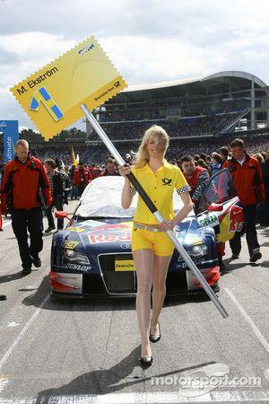 Car of Mattias Ekström, Audi Sport Team Abt Sportsline, Audi A4 DTM pushed to the grid