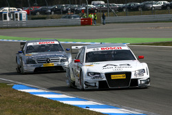 Tom Kristensen, Audi Sport Team Abt, Audi A4 DTM, leads Bruno Spengler, Team HWA AMG Mercedes, AMG M