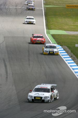 Tom Kristensen, Audi Sport Team Abt Audi A4 DTM 2008 leads Oliver Jarvis, Audi Sport Team Phoenix, A
