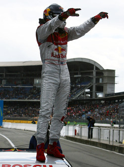 Race winner Mattias Ekström celebrates
