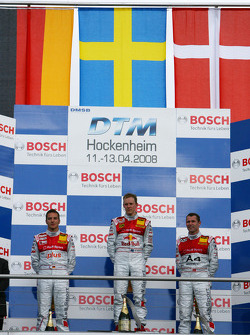 Podium: race winner Mattias Ekström with Timo Scheider and Tom Kristensen