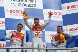 Podium: race winner Mattias Ekström with Timo Scheider and Tom Kristensen