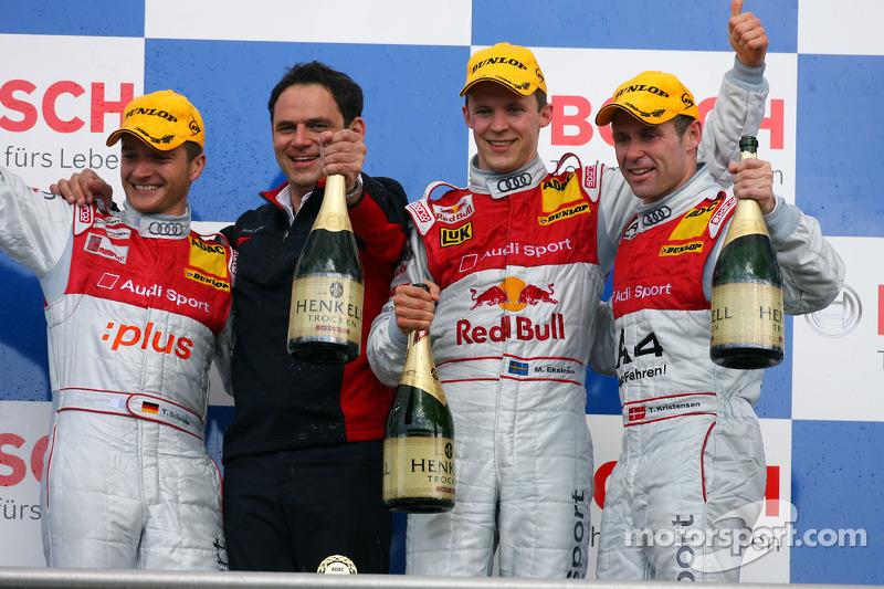 Podium: race winner Mattias Ekström with Timo Scheider, Tom Kristensen and Hans-Jurgen Abt