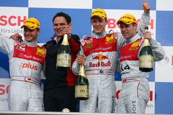 Podium: race winner Mattias Ekström with Timo Scheider, Tom Kristensen and Hans-Jurgen Abt
