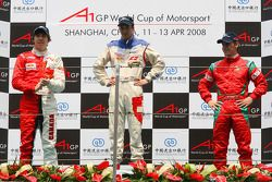 Podium, 2nd, Robert Wickens, driver of A1 Team Canada, 1st, Neel Jani, driver of A1 Team Switzerland