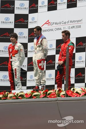 Podium, 2nd, Robert Wickens, driver of A1 Team Canada, 1st, Neel Jani, driver of A1 Team Switzerland, 3rd, Filipe Albuquerque, driver of A1 Team Portugal