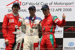 Robert Wickens, driver of A1 Team Canada with Neel Jani, driver of A1 Team Switzerland and Filipe Albuquerque, driver of A1 Team Portugal