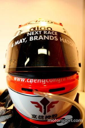 Congfu Cheng, driver of A1 Team China, helmet