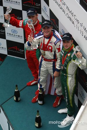 Winner, 1st, Jonathan Summerton, driver of A1 Team USA, 2nd, Filipe Albuquerque, driver of A1 Team Portugal, 3rd, Adam Carroll, driver of A1 Team Ireland