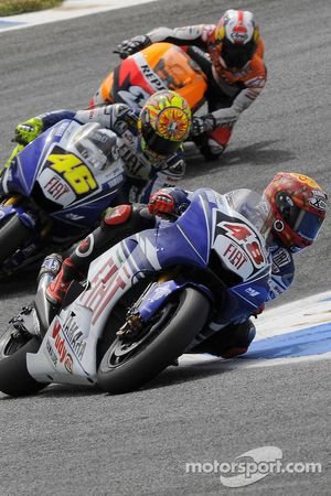 Jorge Lorenzo leads Valentino Rossi