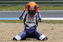 Race winner Jorge Lorenzo celebrates