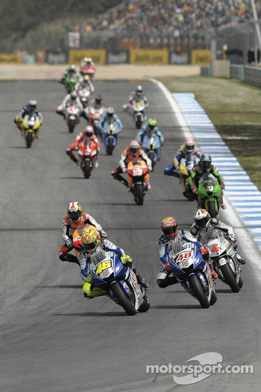 Valentino Rossi and Jorge Lorenzo lead the field