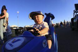 Son of Jack Beckman, Jason Beckman in his Vavoline Stroller
