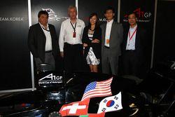 Tony Teixeira, A1GP Chairman, with David Clare, the new A1 Team Korea Seat Holder Joshua Kim and Har