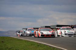 Racing action on start finish straight
