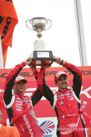 GT500 podium: class and overall winners Satoshi Motoyama and Benoit Treluyer