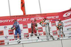 GT500 podium: class and overall winners Satoshi Motoyama and Benoit Treluyer, second place Tsugio Ma