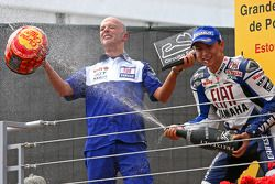 Podium: race winner Jorge Lorenzo celebrates