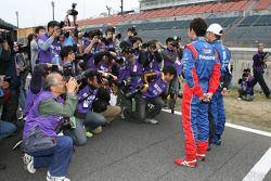 Roger Yasukawa and Hideki Mutoh pose for media