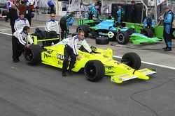 The car of Ed Carpenter is pushed to the grid