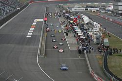 Cars head to track for the pace laps
