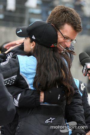 Race winner Danica Patrick celebrates with husband Paul
