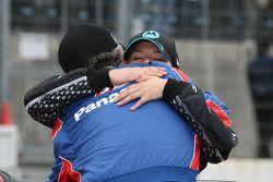 Race winner Danica Patrick celebrates with Kim Green