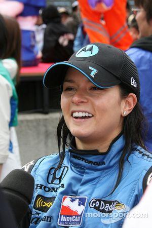 Race winner Danica Patrick gives interviews