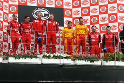 GT2 and G2 podium: Rob Bell, Andrew Kirkaldy, Gianmaria Bruni, Toni Vilander, Matteo Malucelli, Paolo Ruberti, Kenneth Heyer, Stepan Vojtech
