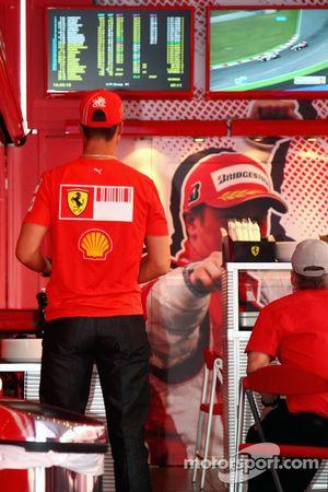 Michael Schumacher, Test Driver, Scuderia Ferrari, watches the GP2 Race