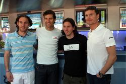 Gabriel Milito, FC Barcelona, Mark Webber, Red Bull Racing, Lionel Messi jugador de fútbol del FC Barcelona y de la selección de Argentina y David Coulthard, Red Bull Racing