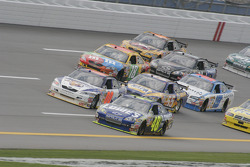 Jimmie Johnson leads a group of cars