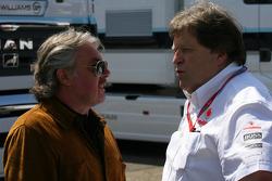 Keke Rosberg and Norbert Haug, Mercedes, Motorsport chief