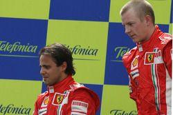 Podium: race winner Kimi Raikkonen with Felipe Massa